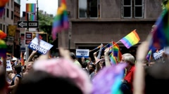 Gay Pride Flags - LBGT Parade - Gay Parade - Gays March in New York City NYC Stock Footage