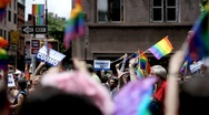 Stock Video Footage of Gay Pride Flags - LBGT Parade - Gay Parade - Gays March in New York City NYC