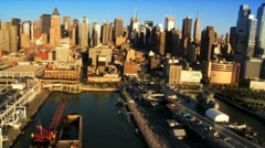 Aerial view of New Yorks many Piers in the  Financial District of Manhattan, USA Stock Footage