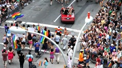 Gay Pride Crowd Marching Aerial View People Car Swerving NYC New York City Stock Footage