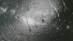 Stock Video Footage of Raindrops on windshield