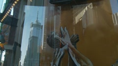 Basketball in NYC shop window Stock Footage