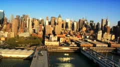 Aerial view of Midtown Manhattan and Piers, New York City, USA Stock Footage