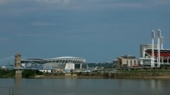 Cincinnati Paul Brown Stadium seen across Ohio River Stock Footage