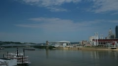Cincinnati sports stadiums seen across Ohio River Stock Footage