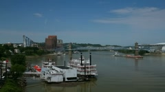 Cincinnati riverboats and downtown Ohio river area Stock Footage