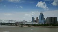 Cincinnati skyline seen from across Ohio River Stock Footage