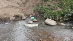 Trashy Polluted Stream (HD) Stock Footage