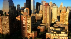 Aerial view of the Financial District, Manhattan and Skyscrapers, NY, USA Stock Footage