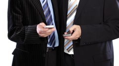 Business people  share ideas using cellphone Stock Footage