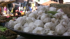 Market in India - closeup of garlic Stock Footage