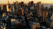 Aerial view of the Setting Sun over Manhattan and Iconic Skyscrapers, NY, USA Stock Footage