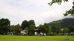 Small Soccer Field in the Mountains 01 Stock Footage