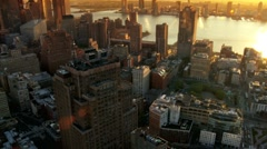 Aerial of New Jersey and Downtown Manhattan Skyline at Sunset, NY, USA Stock Footage