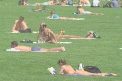 People sunbathing in Central Park Manhattan Stock Footage