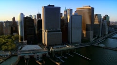 Aerial view of Manhattans Financial District, New York, North America Stock Footage