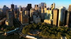 Aerial view of the Financial District, Battery Park and Harbor, NY, USA Stock Footage