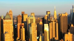 Aerial view of Mid Town Manhattan at Sunset New York, America Stock Footage