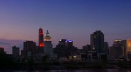Cincinnati skyline at night seen from Ohio river Stock Footage