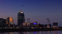 Cincinnati skyline and Great American Ball Park at night Stock Footage