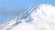 Stock Video Footage of Mt. Fuji snow-capped peak Time-Lapse