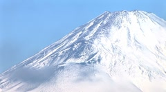 Close up of Mt. Fuji snow-capped peak Stock Footage