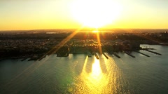 Aerial view of the Hudson River and Harbor at Sunset, New Jersey, North America - stock footage