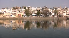 Beautiful reflection of river front in India - stock footage