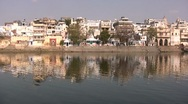 Stock Video Footage of Beautiful reflection of river front in India