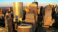 Stock Video Footage of Aerial view of the Financial District of Manhattan at Sunset, NY, USA
