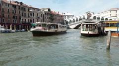 Venice Grand Canal Rialto Bridge Vaporetti P HD 1119 Stock Footage