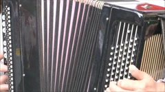 musician playing on the old accordion - stock footage