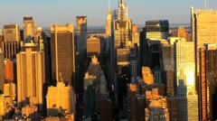 Aerial view of Manhattans Iconic Skyscrapers, New York City, USA - stock footage