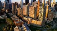 Stock Video Footage of Aerial view of New York and Iconic Skyline, Manhattan, America, USA