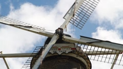 Historic working windmill close up Stock Footage