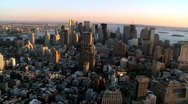 Aerial Fly though view of Manhattans Financial Business Quarter, NY, USA Stock Footage