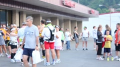 Runners milling about before a race - stock footage