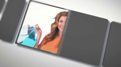 Montage of beautiful women after shopping Stock Footage