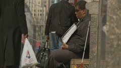 Blind man needs help, NYC Stock Footage