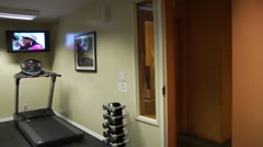 Work out room pan 000733 Stock Footage