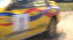 High speed Rally cornering - Subaru Impreza, lots of dust Stock Footage