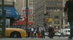 99c Chineese slice, NYC scene Stock Footage