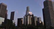Stock Video Footage of LA Downtown buildings 4th ave Wideshot Timelapse