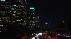 LA freeway buildings NIGHT SnapZooms Stock Footage