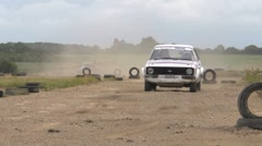 Rally car cornering - demonstrating sliding turns Stock Footage