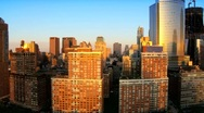 Stock Video Footage of Aerial view of the Financial District Manhattan at Sunset, NY, USA