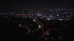 Zoom in to Los Angeles downtown at night Stock Footage