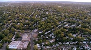 Aerial view of homes in the suburbs of New Jersey, New York State, USA Stock Footage