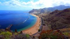 Gold sand beach Teresitas - Tenerife - timelapse Stock Footage