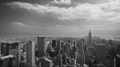 Manhattan New York City Black and White Old Film Helicopter Aerial NYC Vintage Stock Footage